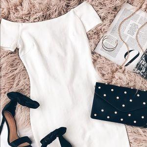 Lulu's White Off-Shoulder Bodycon Dress Size M